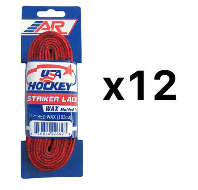 A&R Sports USA Hockey Laces - Waxed Striker Laces - Red 72 Inches (12-Pack)