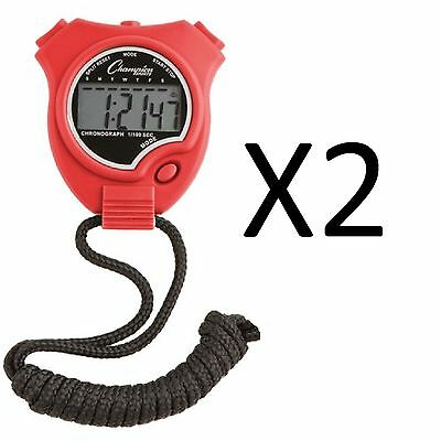 Champion Sports Running Walking Stop Watch-Stopwatch-Alarm-Red (2-Pack)
