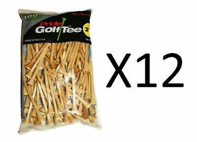 """Pride Sports 100% Solid Hardwood Golf Tees 2 3/4"""" 100 Count Natural (12-Pack)"""