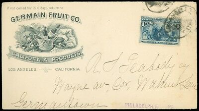 1894c L.A. CA, GERMAN FRUIT CO. Illustrated PORT, WINE, SEEDS GRAPES, SC #230!