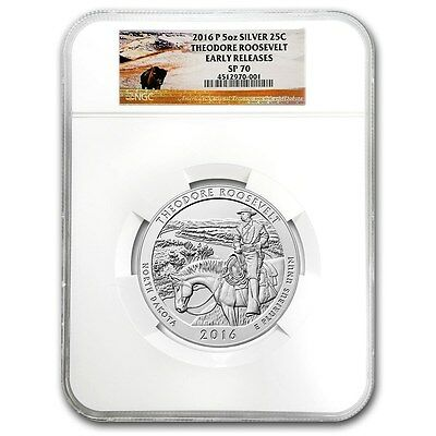 2016 P THEODORE ROOSEVELT NGC SP70 Early Release ATB 5 oz Silver Coin