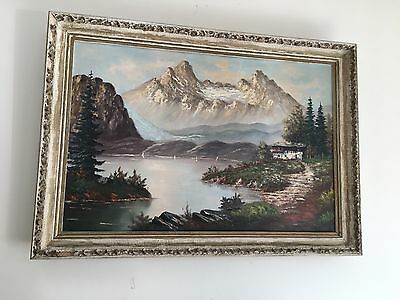 Early 20th Century Landscape Large Original Oil Old Painting 100 Year..