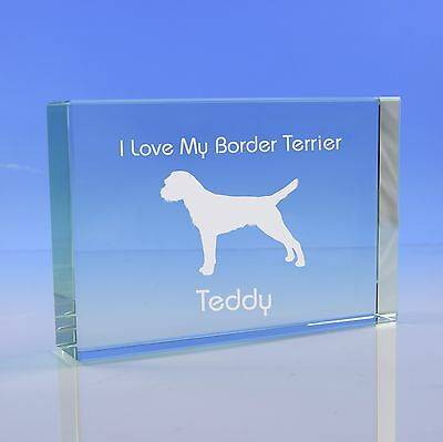 Border Terrier Dog Gift Personalised Paperweight Ornament Engraved Glass