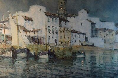 Albert Moulton Foweraker Watercolor Painting of a Mediterranean Harbor