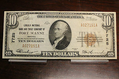 1929 $10 Fort Wayne IN Lincoln National Bank Small National Bank Note 7725