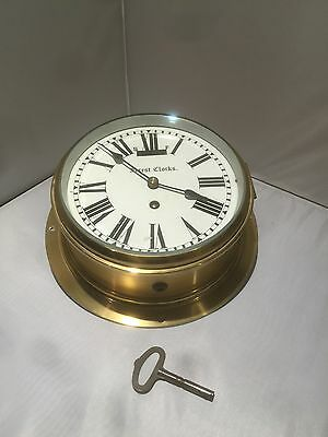 Very Fine Quality & Large Brass Marine Bulkhead Clock, Working Order. Offers? • £225.00