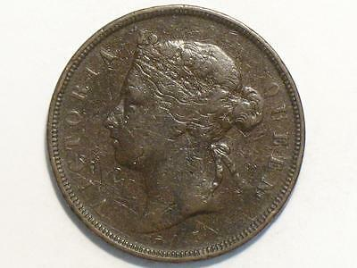 1877-H Mauritius 5 Cents - Foreign World Coin - Queen Victoria