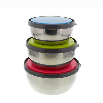 3 Set Mixing Bowls Stainless Steel Lunch Box Food Storage Containers with Lids