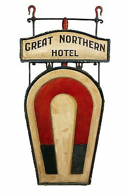 Antique Great Northern Hotel Sign with Magnet c. 1930s, Five Feet Tall!