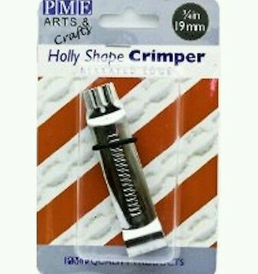 """XMAS crimper cake HOLLY LEAF decorating tool serrated edge 19MM 3/4"""" wide emboss"""