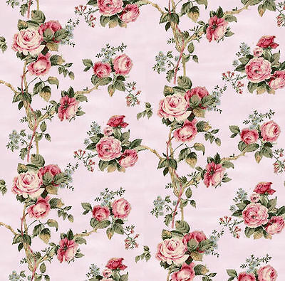 Dollhouse Miniature Pink Floral Computer Printed Fabric 1:12 Cotton