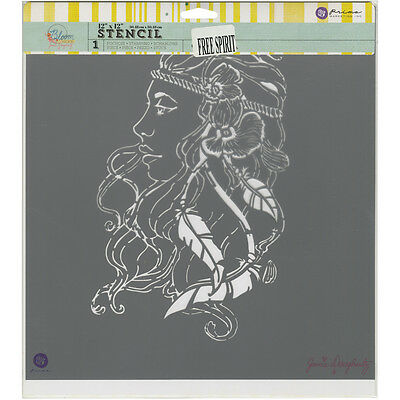"Prima Bloom Stencil 12""X12""-Free Spirit"