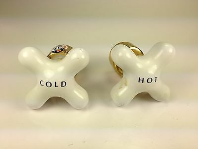 French Porcelain And Brass Hot & Cold Water Spigots