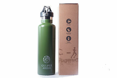 The Gulper Insulated Stainless Steel Water Bottle, Standard Mouth, 24 Oz - Green