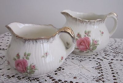 2 Vintage 1930's Crown Ducal England Roses Pitchers / Jugs Gold Trim