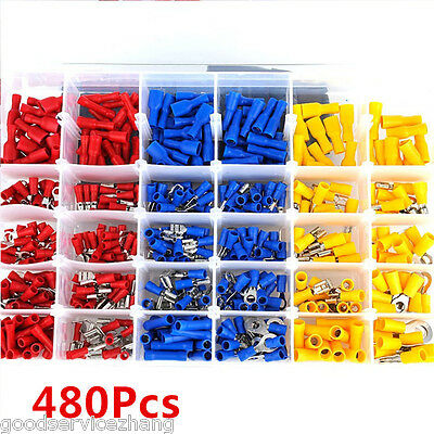 480pcs Assorted Insulated Electrical Wire Terminals Crimp Spade Connectors Set