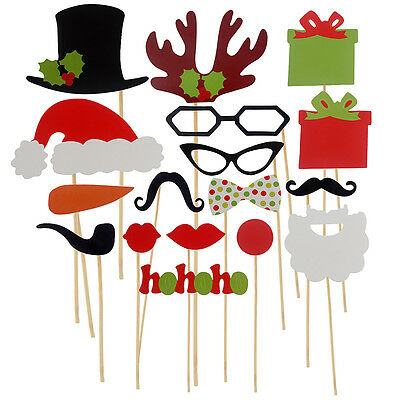 Set Of 17x Photo Booth Props Mustache Lip Stick Wedding Happy Christmas New Year