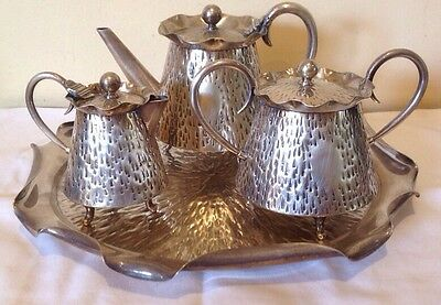 MID 20th CENT. MODERNISM DESIGNER TEA SET ,silver plate by Robert Brearly