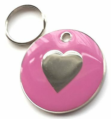 Personalised Engraved Pink Enamel Love Heart - Dog/Cat Pet ID Tag 26mm