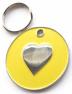 Personalised Engraved Yellow Enamel Love Heart - Dog/Cat Pet ID Tag 26mm