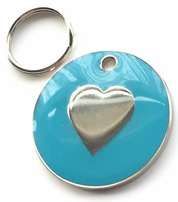 Personalised Engraved Light Blue Enamel Love Heart - Dog/Cat Pet ID Tag 26mm