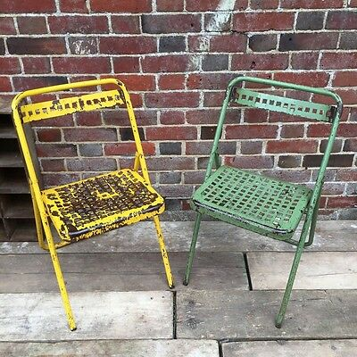 Industrial Vintage Pair French Folding Metal Cafe Bistro Garden Chairs