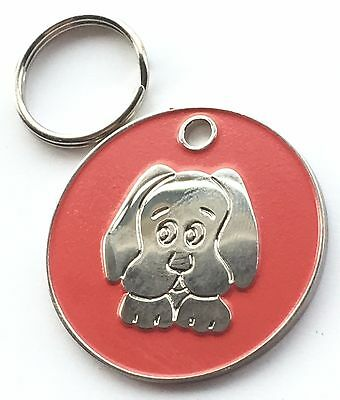 Personalised Engraved Red Enamel Puppy Dog Face Pet ID Tag 26mm