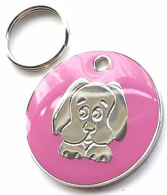 Personalised Engraved Pink Enamel Puppy Dog Face Pet ID Tag 26mm