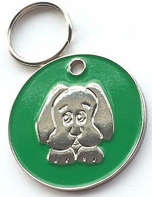 Personalised Engraved Green Enamel Puppy Dog Face Pet ID Tag 26mm