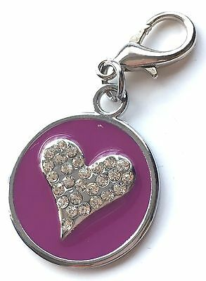 Personalised Engraved Purple Enamel Love Heart Pet ID Tag + Clip *Special Offer*
