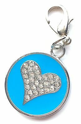Personalised Engraved Blue Enamel Love Heart Pet ID Tag + Clip *Special Offer*