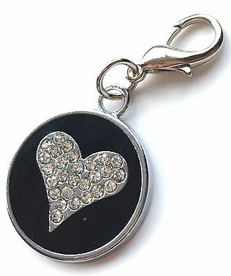 Personalised Engraved Black Enamel Love Heart Pet ID Tag + Clip *Special Offer*