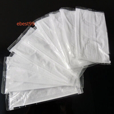 50X  Disposable Surgical Medical Flu Face Mask Bacterial Filter Dust-Anti White