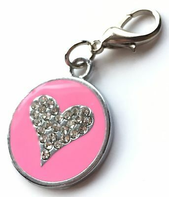 Personalised Engraved Pink Enamel Love Heart Pet ID Tag + Clip *Special Offer*