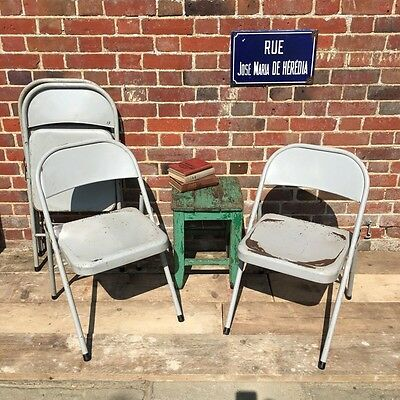 Industrial Vintage French Metal Folding Cafe Bistro Chairs