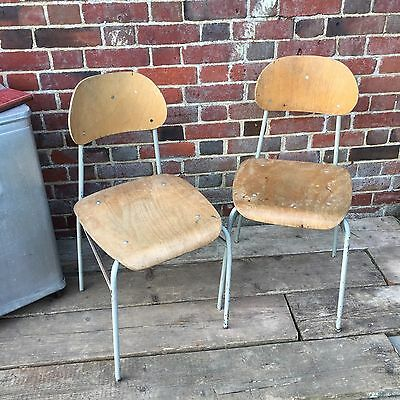 Industrial Vintage Restaurant Wooden Stacking Ply Metal French School Chair