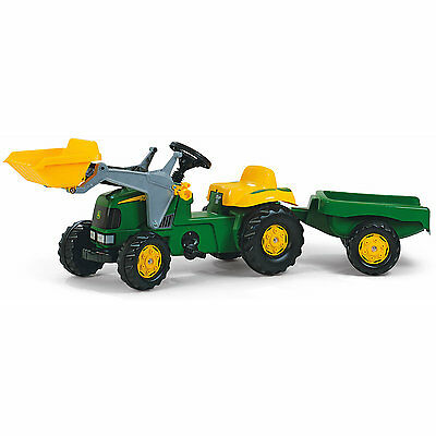 New Ride-on Rolly Toys John Deere Pedal Tractor with Loader and Trailer Age 2+