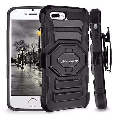 FOR IPHONE 7 Plus HEAVY DUTY RUGGED HOLSTER CASE WITH KICKSTAND BELT CLIP COVER