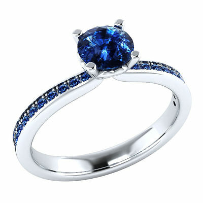 0.65 ct Natural Round Blue Sapphire 14k White Gold Engagement Ring Sizable