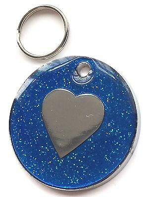 Large Personalised Blue Glitter Enamel Love Heart Pet ID Tag 30mm