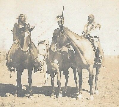Original ANTIQUE Photo of Native Americans On Horses