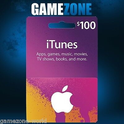 iTunes Gift Card $100 USD USA Apple iTunes Voucher Code Dollars United States