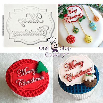 Katy Sue MERRY CHRISTMAS Mini Plaque Silicone Sugarcraft Cupcake Mould Art Craft