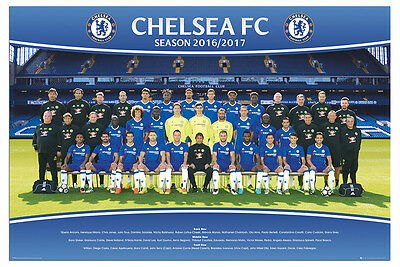 Chelsea FC Team Squad 2016 - 2017 Poster New - Maxi Size 36 x 24 Inch