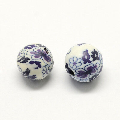 200 pcs Handmade Polymer Clay Round Beads with Flower Pattern White