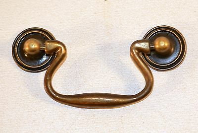 "Vintage 4"" Bail Pull Brass Plated Cabinet Drawer Door Handle"