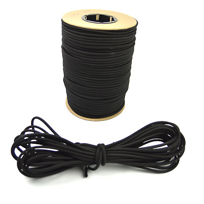 "1/4"" Black Bungee Cord Marine Grade Heavy Duty Shock Rope Tie Down Stretch Band"