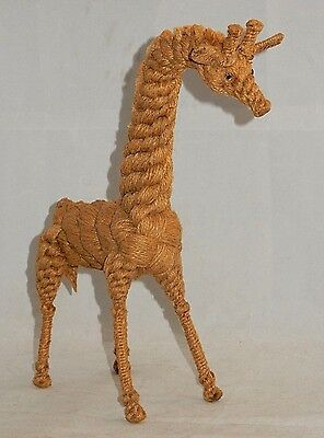 """Unique Vintage Braided Hemp Twine Rope Giraffe Bendable Wire 12"""" Tall Glass Eyes"""