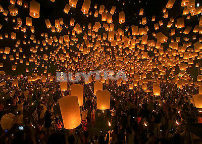 Chinese Pray Wishing Paper Lantern Sky Candle Wedding Birthday Party Flying Lamp