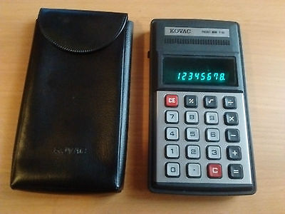 KOVAC POCKET MINI P-80 VINTAGE CALCULATOR WITH ORIGINAL CASE '70s • EUR 15,00